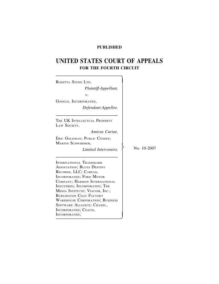 Rosetta Stone, Ltd. v. Google, Inc., No. 10-2007 (4th Cir. April 9, 2012)