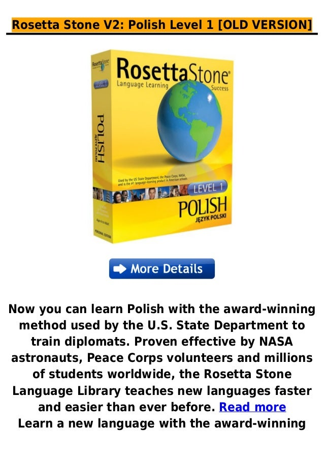 Rosetta Stone V2: Polish Level 1 [OLD VERSION]Now you can learn Polish with the award-winningmethod used by the U.S. State...