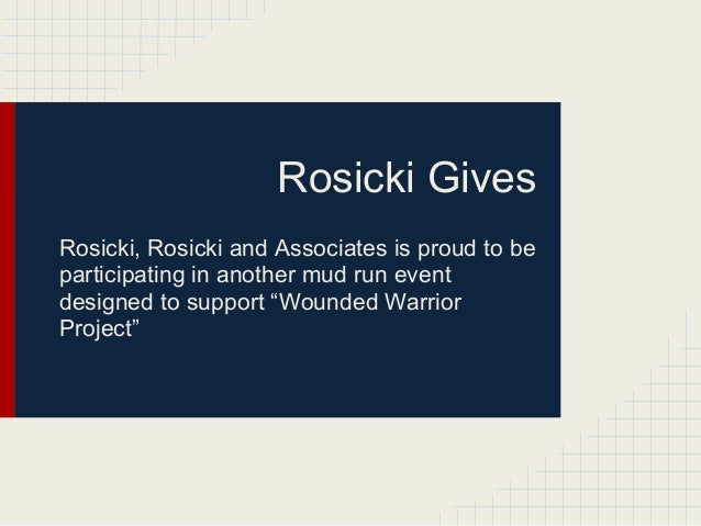 Rosicki Supports the Wounded Warrior Project