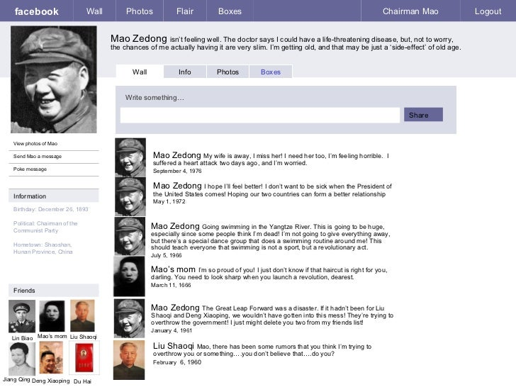 facebook Mao Zedong  isn't feeling well. The doctor says I could have a life-threatening disease, but, not to worry, the c...
