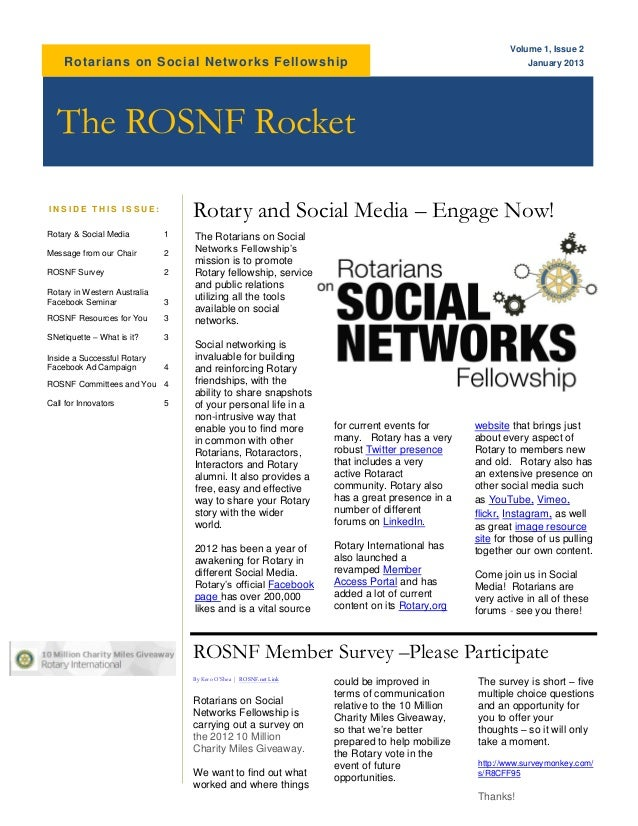 Volume 1, Issue 2    Rotarians on Social Netw orks Fellowship                                                             ...