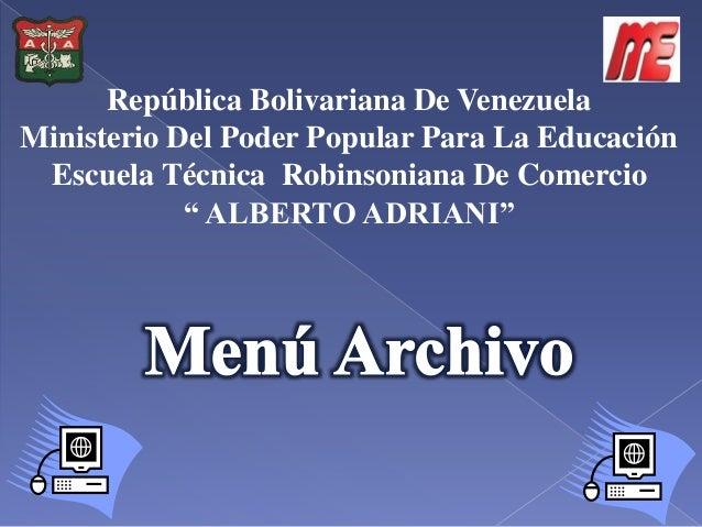 República Bolivariana De Venezuela Ministerio Del Poder Popular Para La Educación Escuela Técnica Robinsoniana De Comercio...