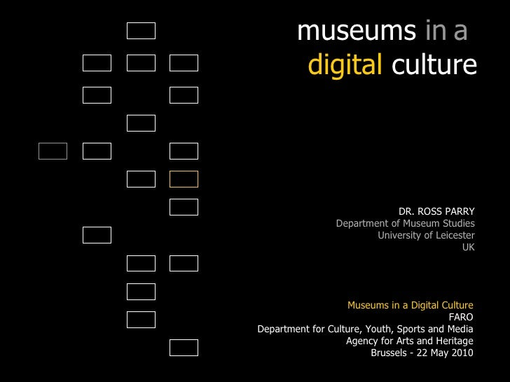 museums  in   a  digital  culture DR. ROSS PARRY Department of Museum Studies University of Leicester UK Technologies for ...