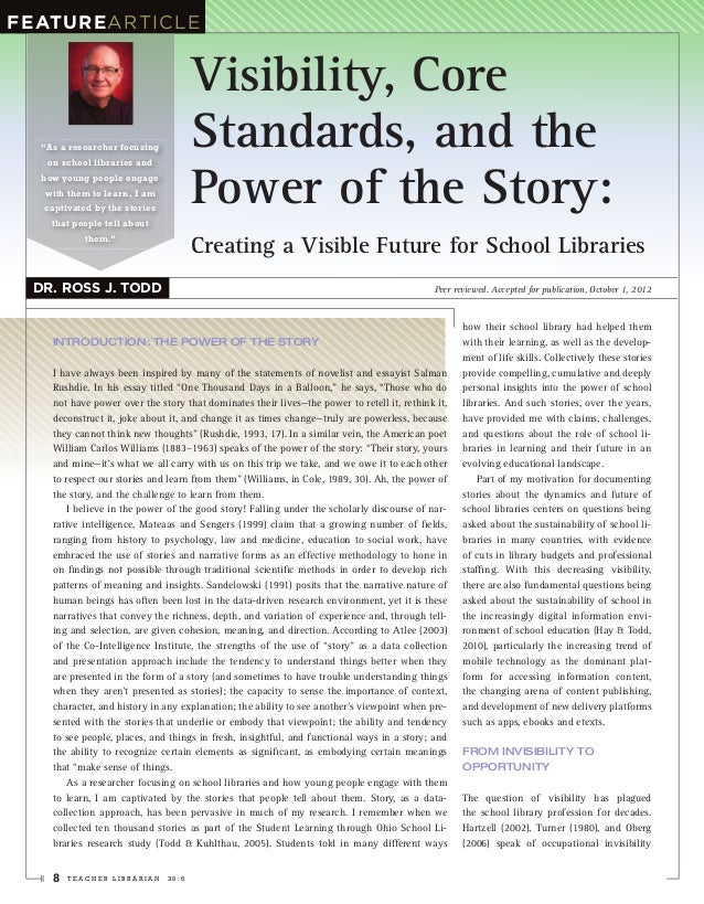 """FeatuReARtiCLE                                     Visibility, Core  """"As a researcher focusing          Standards, and the..."""