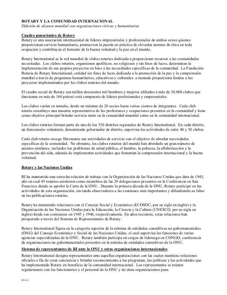 ROTARY Y LA COMUNIDAD INTERNACIONAL Difusión de alcance mundial con organizaciones cívicas y humanitarias  Cuadro panorámi...