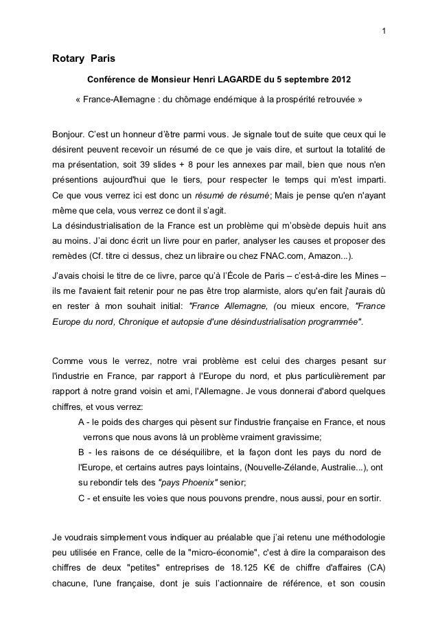 1Rotary Paris         Conférence de Monsieur Henri LAGARDE du 5 septembre 2012      « France-Allemagne : du chômage endémi...