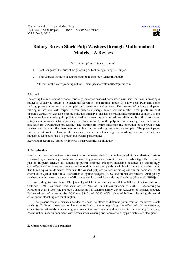 Rotary brown stock pulp washers through mathematical models a review