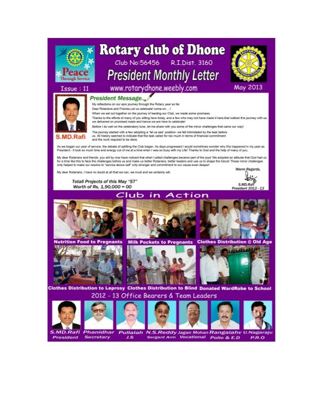 Rotary club, dhone may 2013 pml