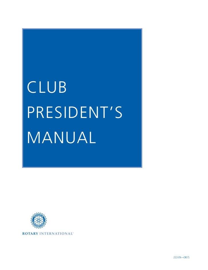 Rotary club president's manual