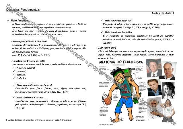 Conceitos Fundamentais Duvidas, Criticas e Sugestões entrem em contato: katia@dna.org.br Meio Ambiente O Meio Ambiente é o...