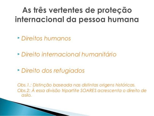    Direitos humanos   Direito internacional humanitário   Direito dos refugiadosObs.1.: Distinção baseada nas distintas...