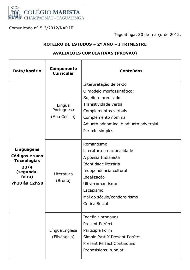 Comunicado nº 5-3/2012/NAP III                                                      Taguatinga, 30 de março de 2012.      ...