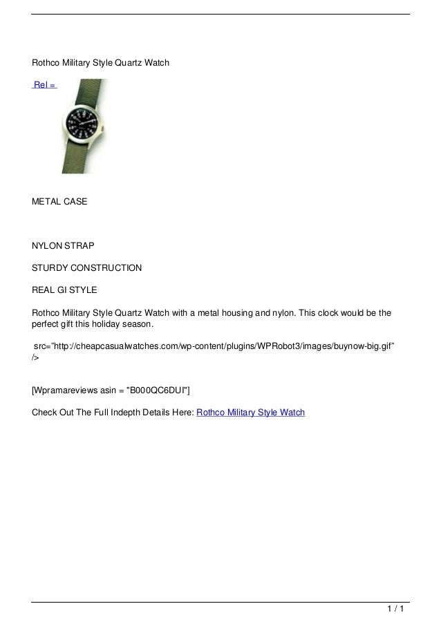 Rothco Military Style Quartz Watch                                   Rel =                                   METAL CASE   ...