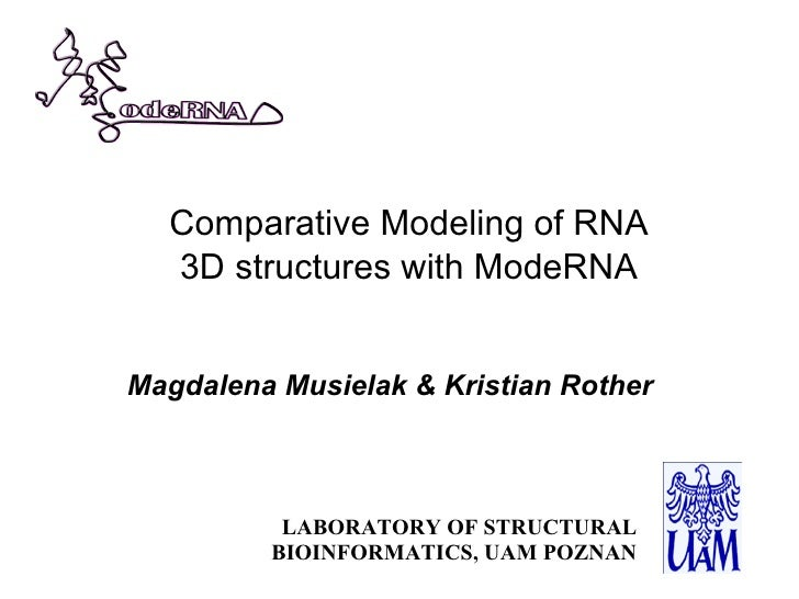 Comparative Modeling of RNA   3D structures with ModeRNA   Magdalena Musielak & Kristian Rother              LABORATORY OF...