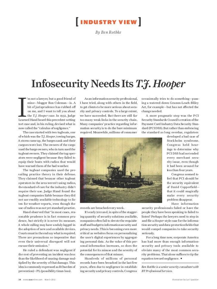 Infosecurity Needs Its T.J. Hooper