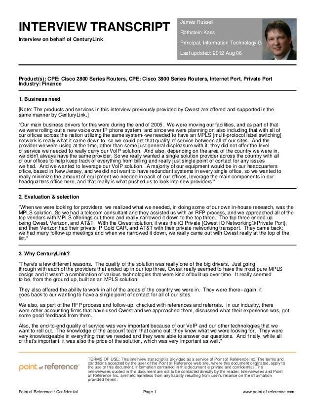 CenturyLink and Rothstein Kass Interview