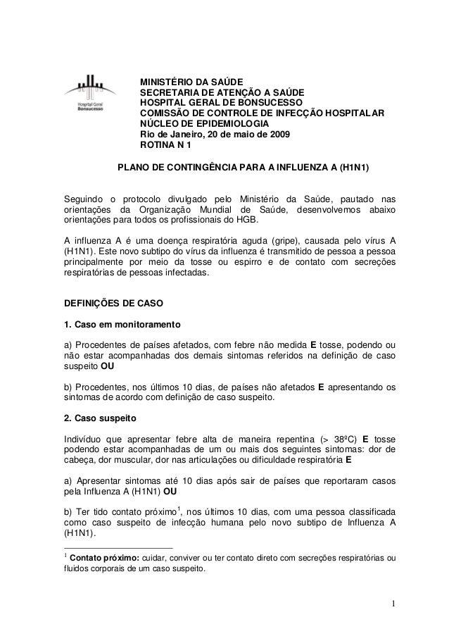 MINISTÉRIO DA SAÚDE SECRETARIA DE ATENÇÃO A SAÚDE HOSPITAL GERAL DE BONSUCESSO COMISSÃO DE CONTROLE DE INFECÇÃO HOSPITALAR...