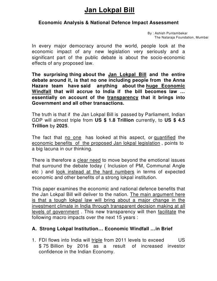 Jan Lokpal Bill   Economic Analysis & National Defence Impact Assessment                                                  ...