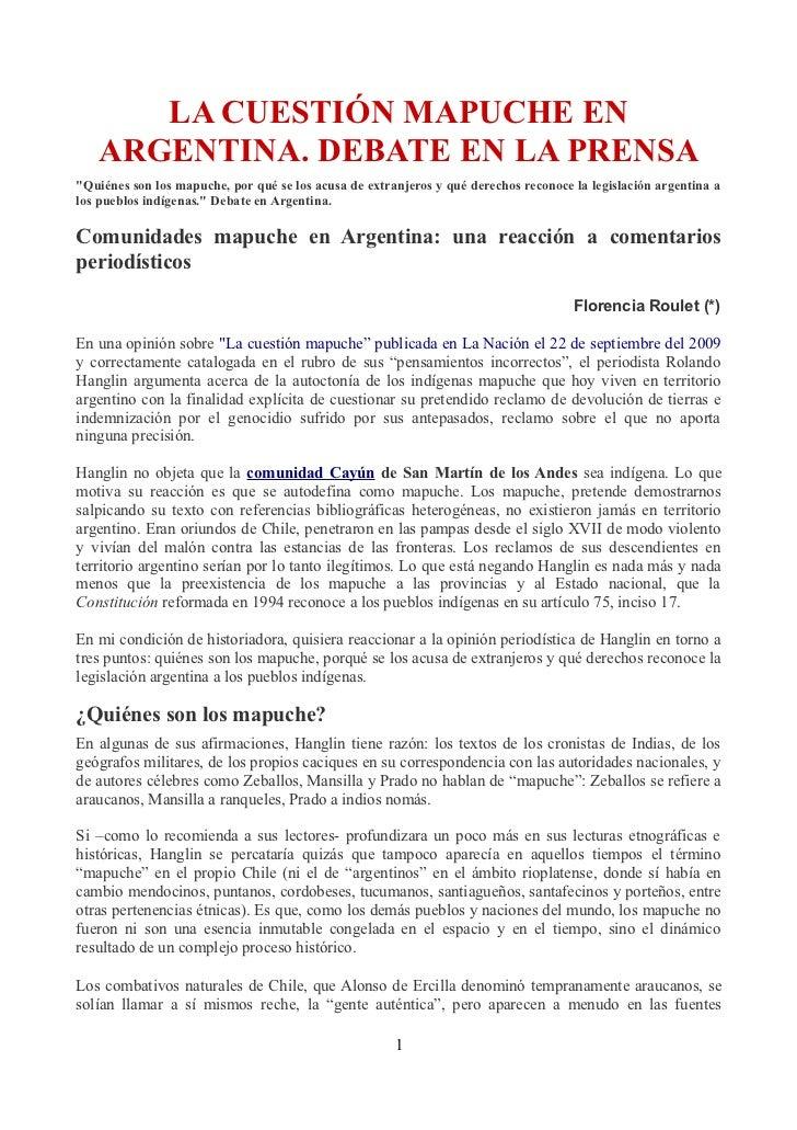 """LA CUESTIÓN MAPUCHE EN   ARGENTINA. DEBATE EN LA PRENSA""""Quiénes son los mapuche, por qué se los acusa de extranjeros y qué..."""