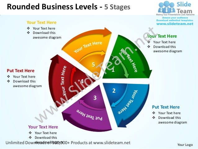 Rounded Business Levels - 5 Stages         Your Text Here          Your Text here          Download this           aweso...