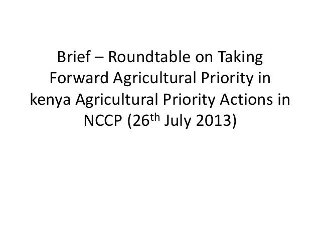 Brief – Roundtable on Taking Forward Agricultural Priority in kenya Agricultural Priority Actions in NCCP (26th July 2013)