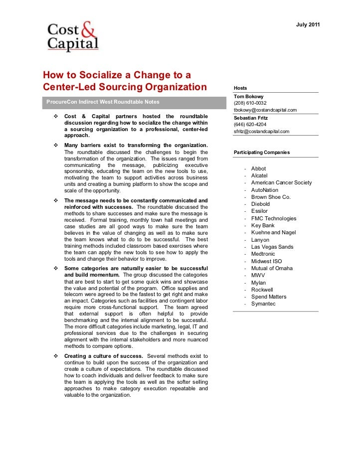 Roundtable Summary   Socialize The Change To A Center Led Organization