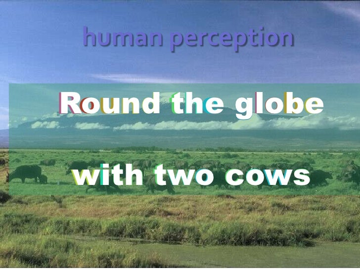 human perception<br />o<br />u<br />d<br />t<br />e<br />l<br />o<br />b<br />e<br />Round the globe<br />with two cows<br...