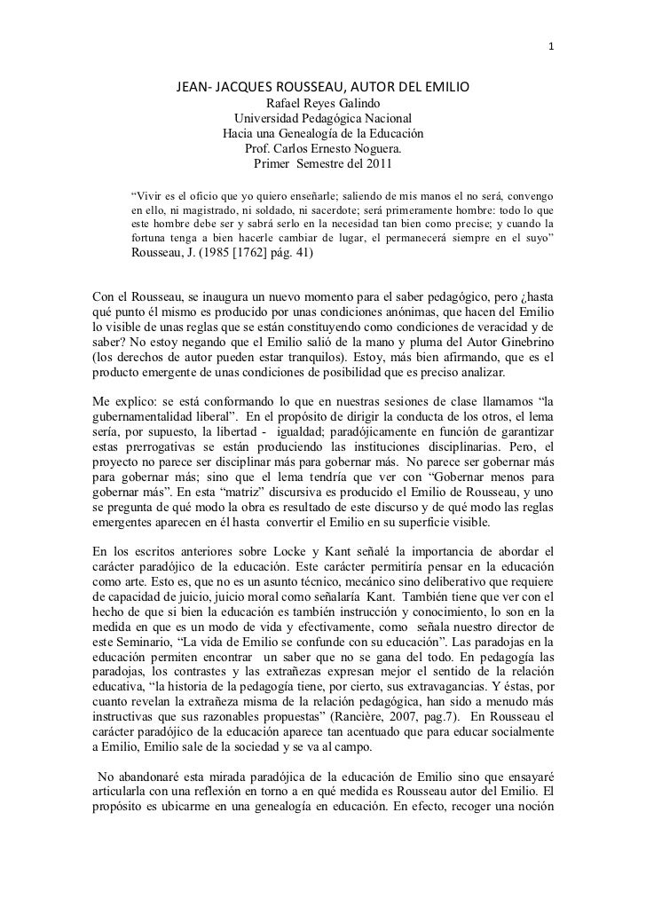 1                JEAN- JACQUES ROUSSEAU, AUTOR DEL EMILIO                                 Rafael Reyes Galindo            ...