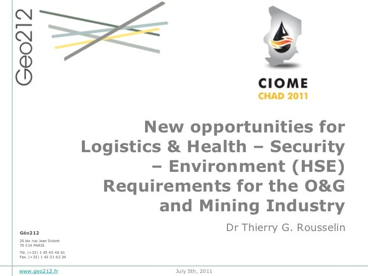 New opportunities for                           Logistics & Health – Security                                   – Environm...