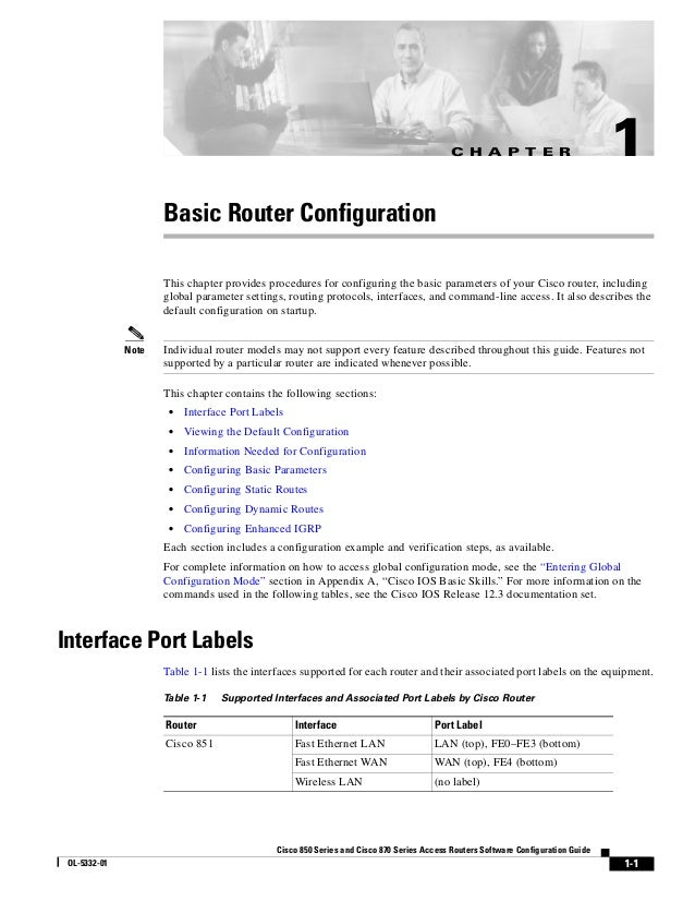 C H A P T E R                          1                     Basic Router Configuration                     This chapter p...