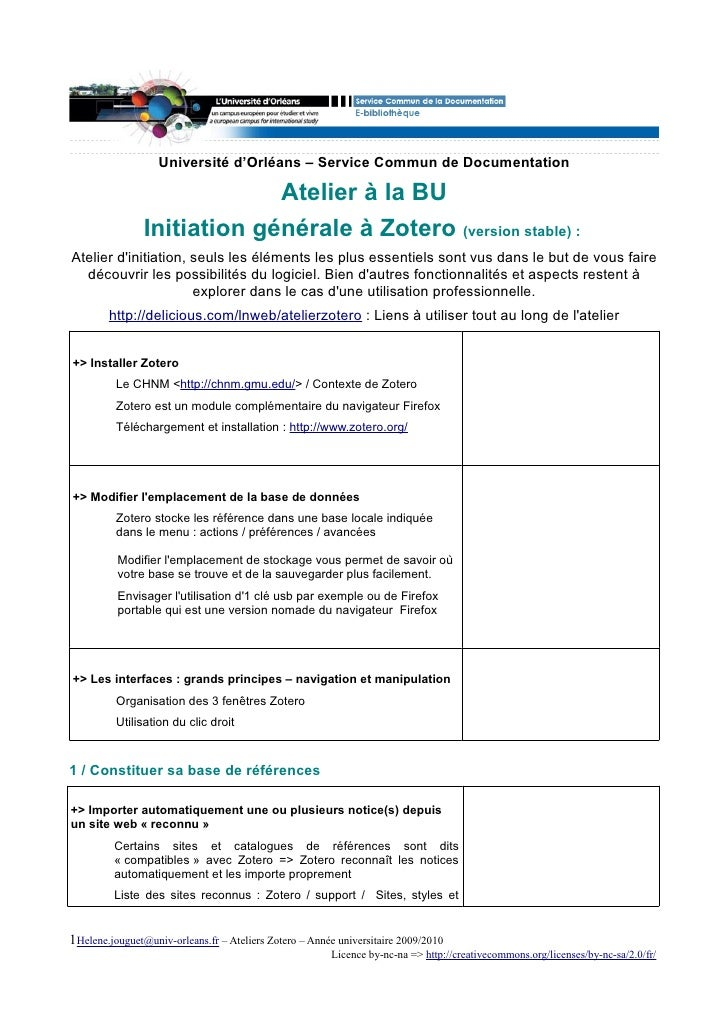 Université d'Orléans – Service Commun de Documentation                               Atelier à la BU                 Initi...