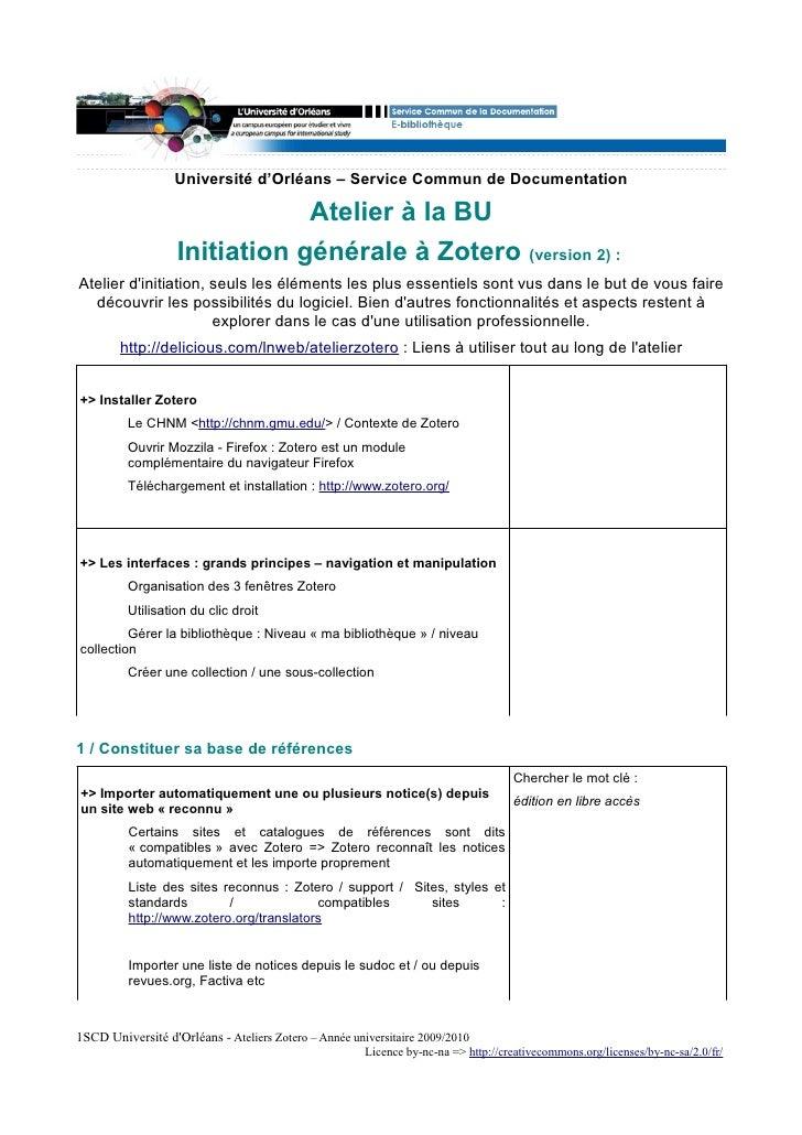 Université d'Orléans – Service Commun de Documentation                                 Atelier à la BU                    ...
