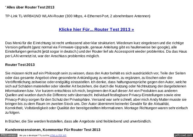 """Alles über Router Test 2013  TP-Link TL-WR841ND WLAN-Router (300 Mbps, 4-Ethernet-Port, 2 abnehmbare Antennen)           ..."