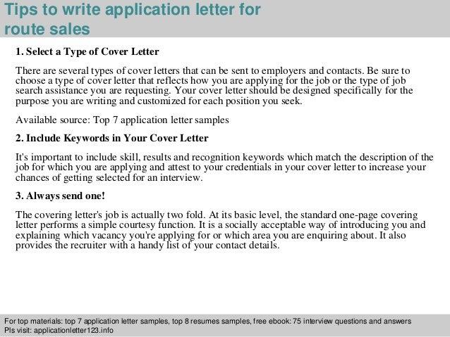 Route sales application letter