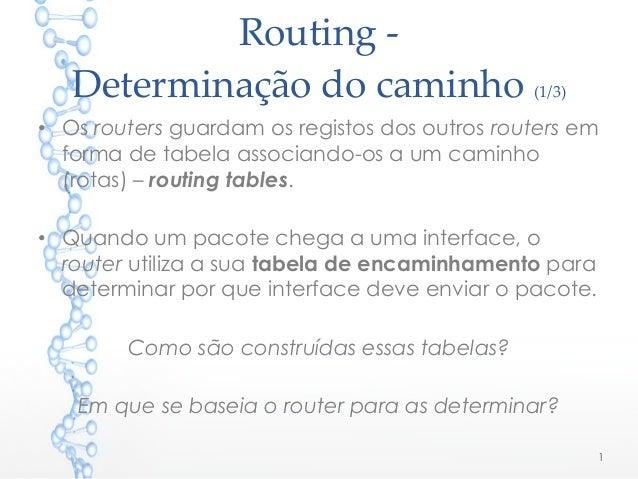 Routing - Determinação do caminho (1/3) • Os routers guardam os registos dos outros routers em forma de tabela associando-...