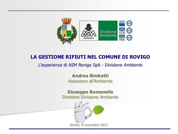 La gestione dei rifiuti nel comune di Rovigo