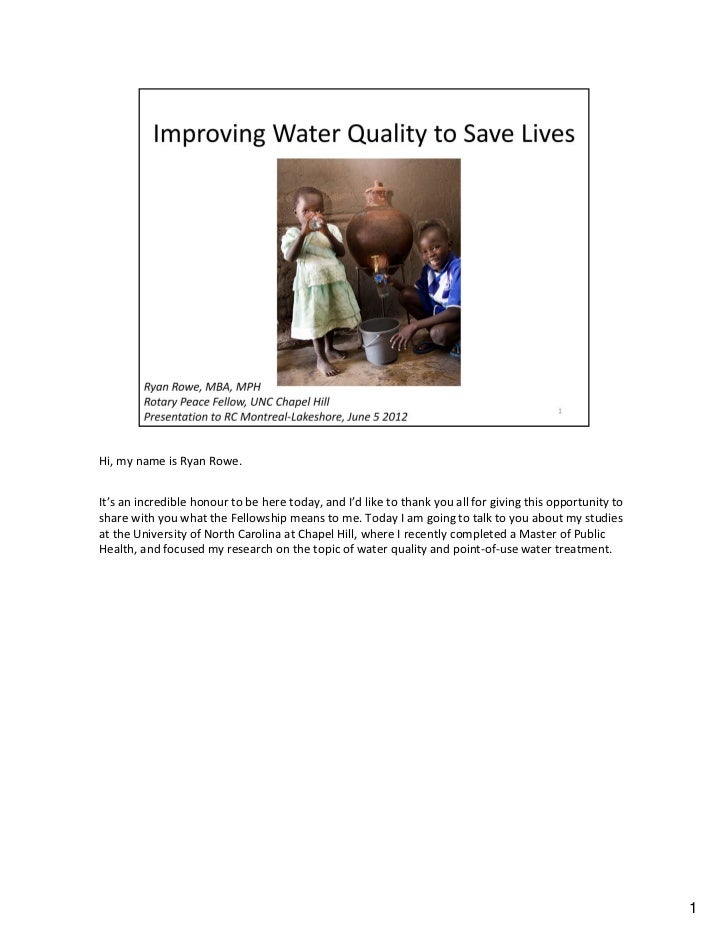 Improving Water Quality to Save Lives