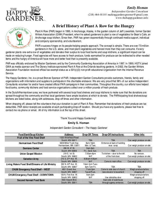Plant a Row for the Hungry - A Brief History