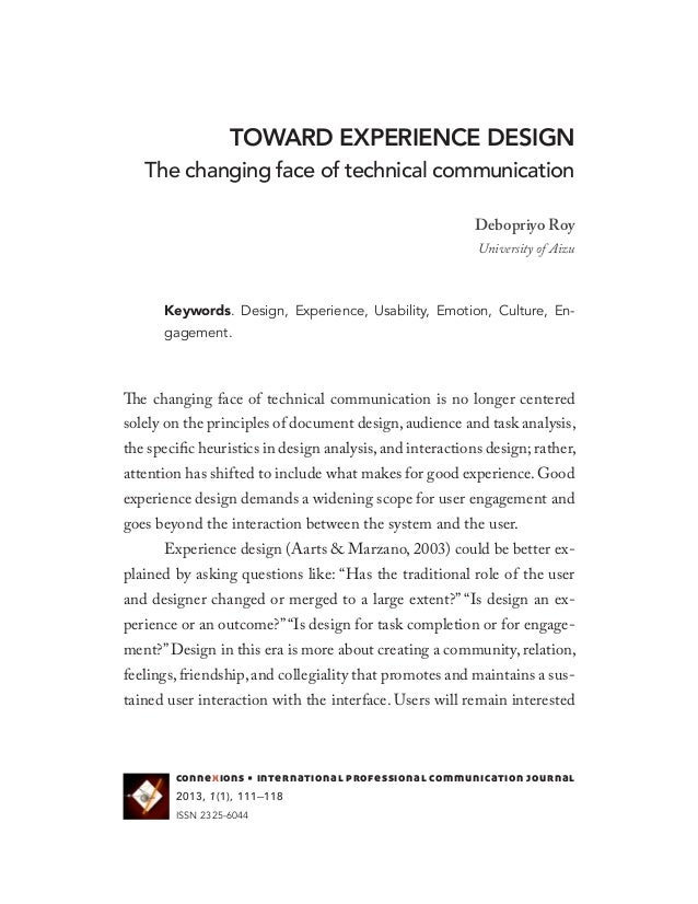 TOWARD EXPERIENCE DESIGNThe changing face of technical communicationDebopriyo RoyUniversity of AizuKeywords. Design, Exper...