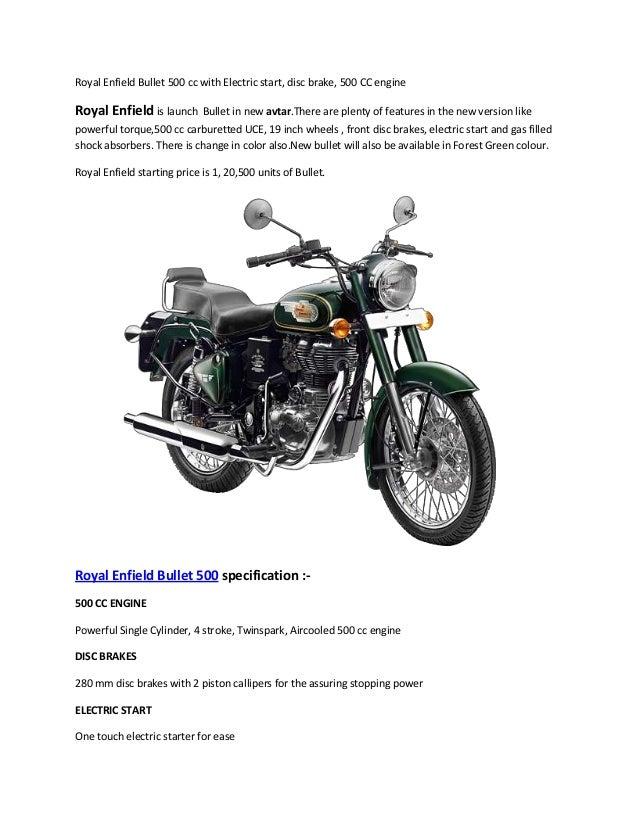 royal enfield bullet 500 cc with electric start disc brake 500 cc e