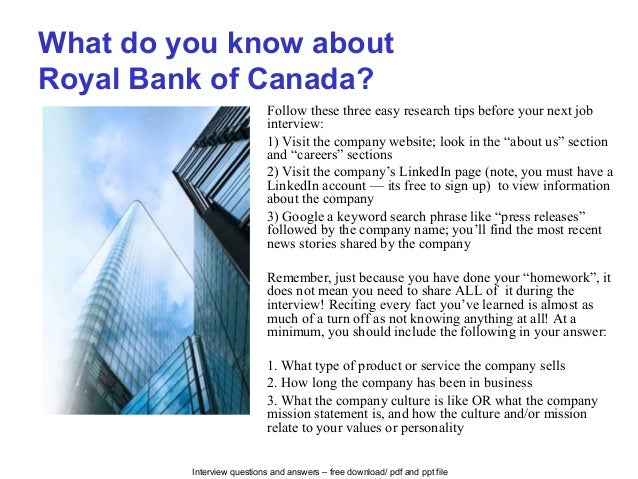 Royal bank of canada interview questions and answers