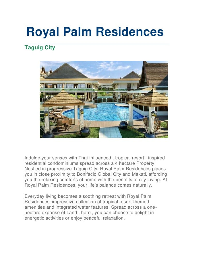 Royal Palm Residences Vacation Resort Condo Great Investment No Spot Downpayment