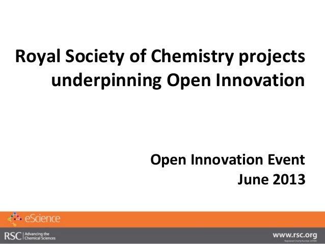 Royal Society of Chemistry projectsunderpinning Open InnovationOpen Innovation EventJune 2013