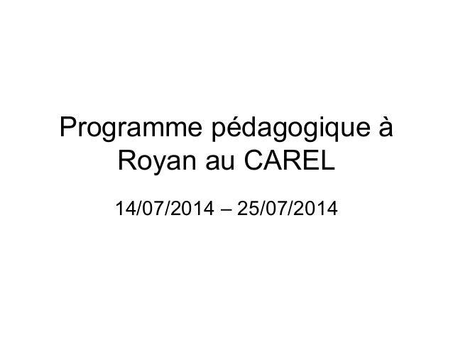 Programme pédagogique à  Royan au CAREL  14/07/2014 – 25/07/2014