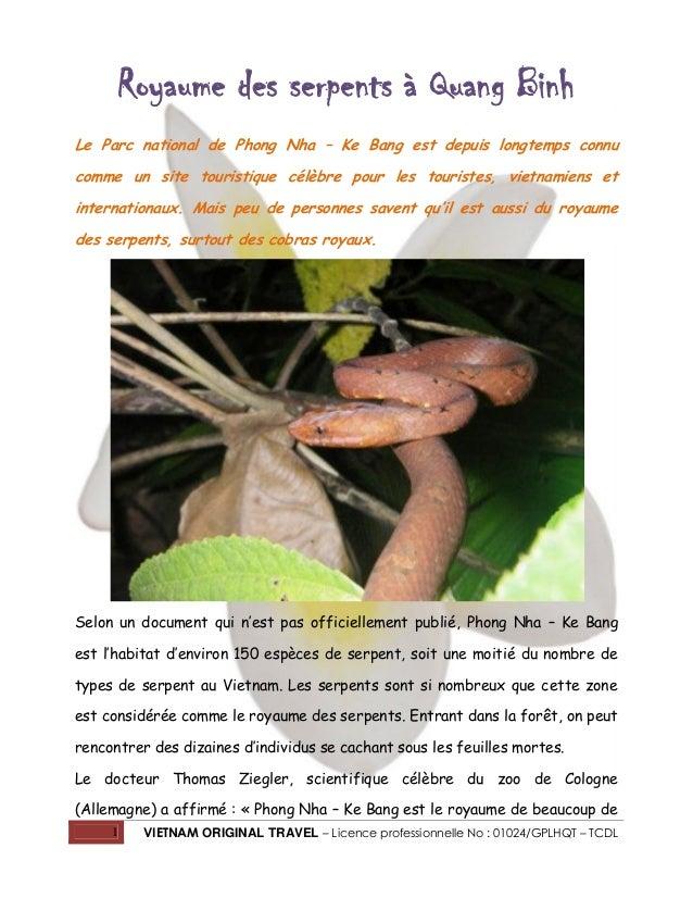 Royaume des serpents à Quang Binh Le Parc national de Phong Nha – Ke Bang est depuis longtemps connu comme un site tourist...