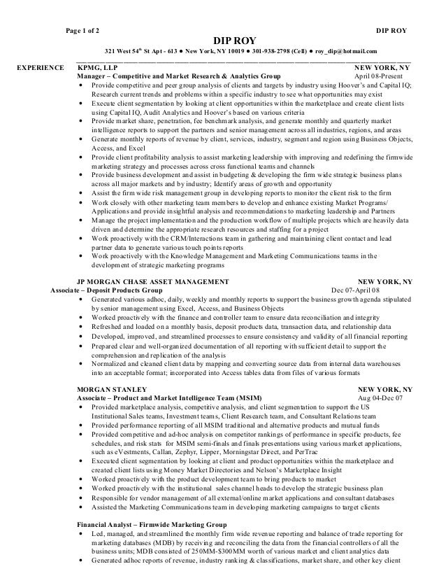 equity research resume samples