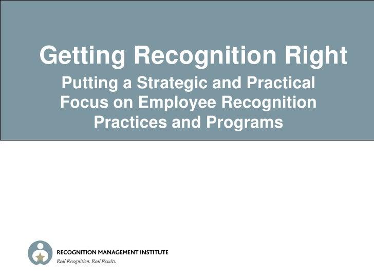 Roy Saunderson Recognition Management Inst.