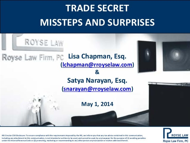 Royse Law Firm, PC - Trade Secret Missteps and Surprises