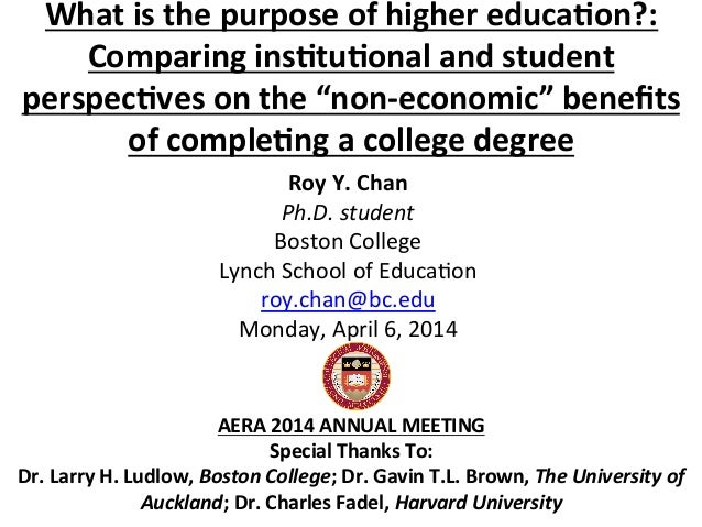What is the purpose of higher education comparing institutional and