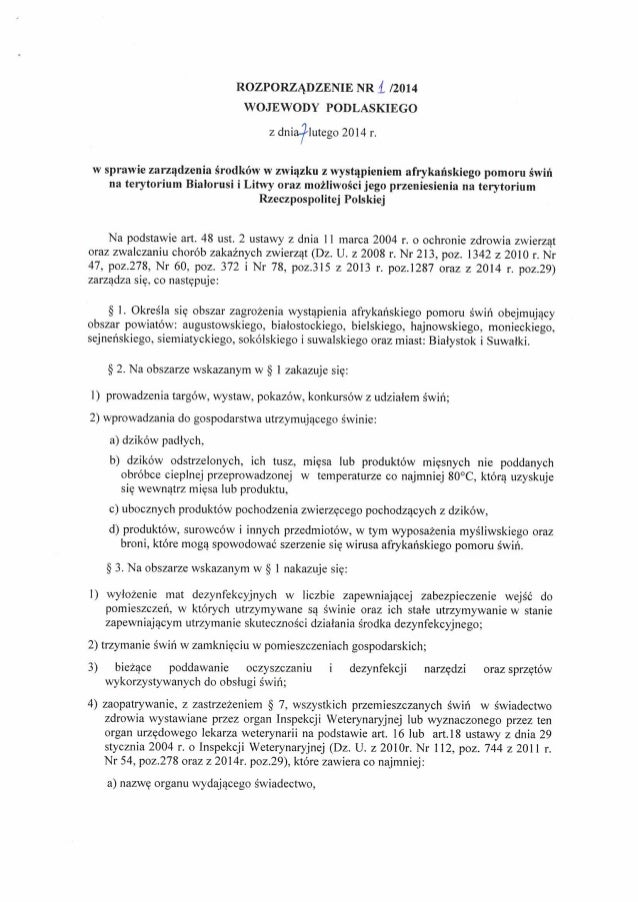 Rozporzadzenie nr 1/2014 Wojewody Podlaskiego z dnia 7 lutego 2014r.